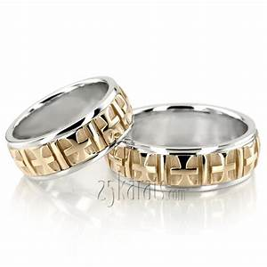hh ba101125 14k gold fine cross religious wedding ring set With religious wedding rings