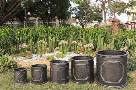 Round Planter Chelsea Cylinder Plant Pot 38cm Lead Effect
