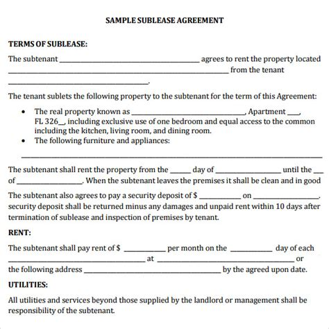 Commercial Sublease Agreement Templates by 23 Sle Free Sublease Agreement Templates To Download