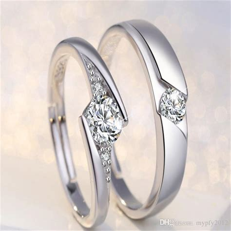 2019 new fashion 30 silver white gold open size zircon love forever crown couple rings men