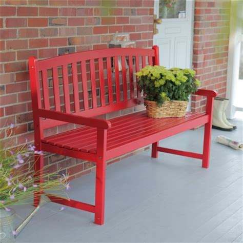 ft outdoor garden bench  red wood finish  armrest