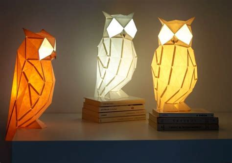 Origami inspired paper lamps bring wildlife to your table