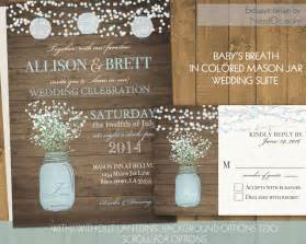 rustic wedding invitations jar wedding invitations suite rustic country baby s breath in blue jar country