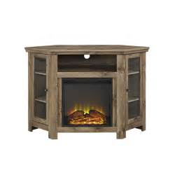 walker edison 48 quot corner fireplace tv stand in barnwood w48fpcrbw