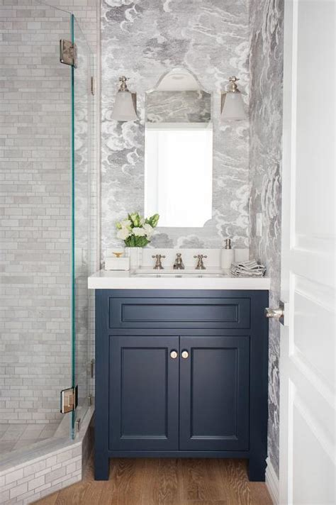 blue bathroom vanity blue washstand with arched mirror and white glass bell