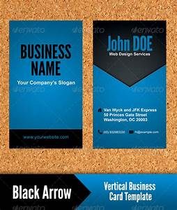 Black arrow vertical business card template by for Vertical business card template