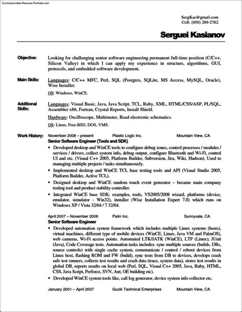 Text Resume Template by Plain Text Resume Template Free Sles Exles