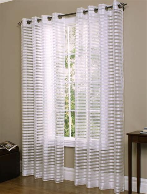cabot semi sheer striped white grommet top curtain panel