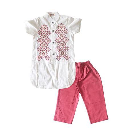 jual rafifa lengan pendek setelan baju koko anak putih merah harga kualitas
