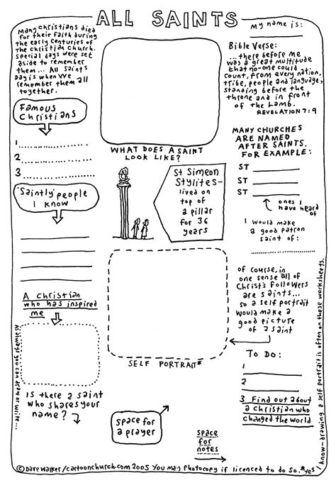 Cartoon Worksheet All Saints Cartoonchurchcom