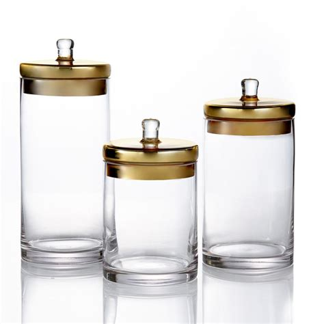 glass kitchen canisters sets style setter 3 glass canisters with golden lids in