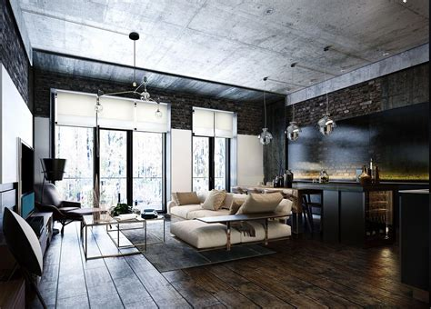An Industrial-Inspired Apartment With Sophisticated Style : 3 Modern Bachelor Apartment Design