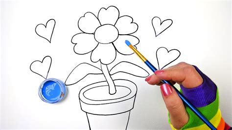 how to draw color and paint flower pot coloring page for