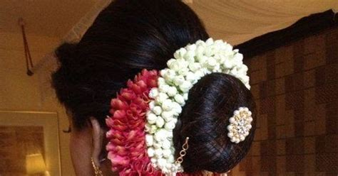indian wedding hairstyles  jasmine flowers bling
