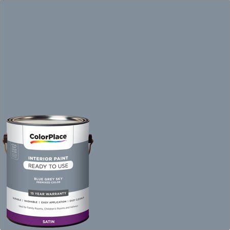 colorplace pre mixed ready to use interior paint blue grey sky satin finish 1 gallon