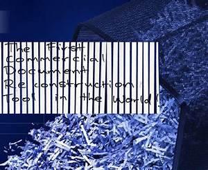 the unshredder puts shredded documents back together With shredded documents reconstruction