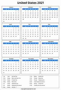 Printable, Us, Calendar, 2021, With, Holidays, Public, Holidays