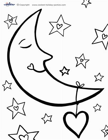 Coloring Moon Sun Pages Stars Moons