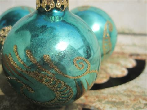 vintage christmas ornaments turquoise aqua glass by