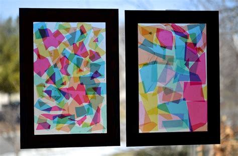 faux stained glass collage cut  colored cellophane