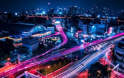 Lights Night Thailand Bangkok Wallpapers Architecture 4k