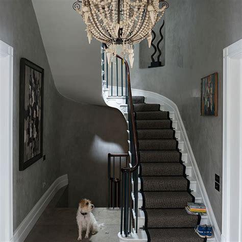 grey eclectic hallway  chandelier decorating ideal