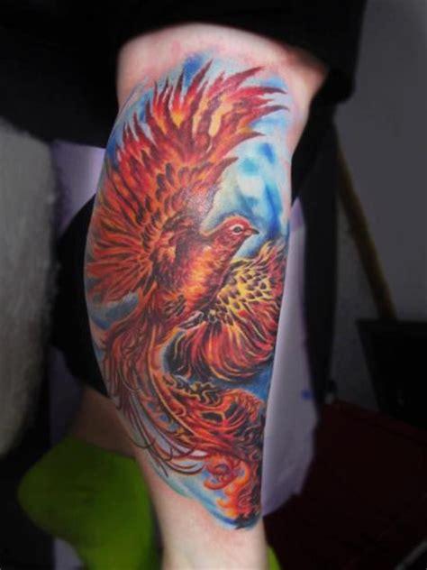 tatuagem fantasia panturrilha fenix por serenity ink