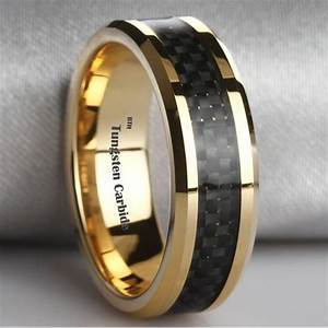Amazing black carbon inlay gold plated tungsten carbide for Gold men wedding ring