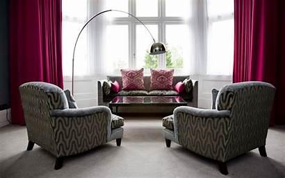 Furniture Upholstered Living Wallpapers Sofa Grey Interior