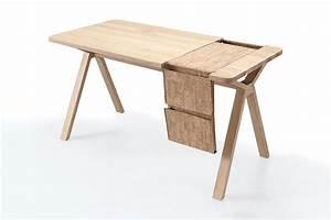 Schreibtisch Design Holz : bolsa designer schreibtisch aus holz mit tasche als ablagefach aus leder oder kork ~ Eleganceandgraceweddings.com Haus und Dekorationen