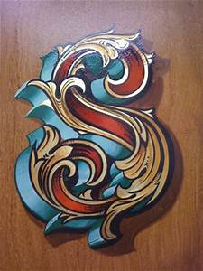 Fancy letter S in Gold leaf and painted decoration ...