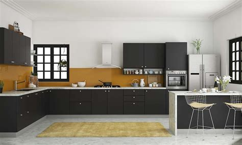 modular kitchen design l shape simple and compact l shaped kitchen design homes Indian