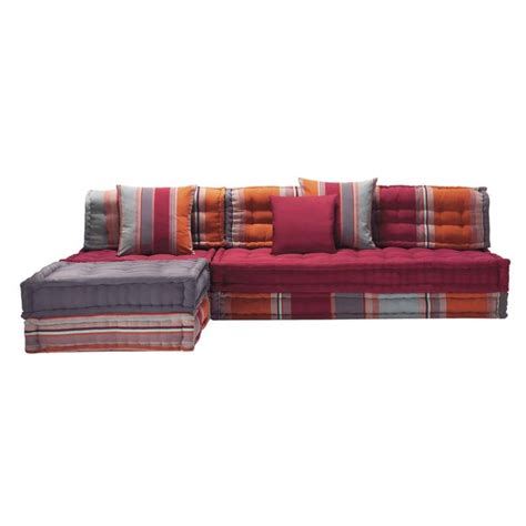 canapé d angle multicolore banquette d 39 angle 5 places en coton multicolore cancun