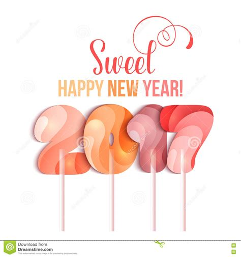 New Year 2017 In Shape Of Candy Stick On White Stock Illustration  Image 77907497