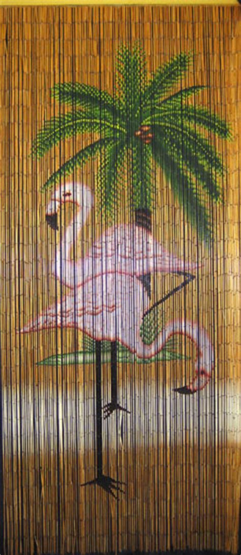 bamboo beaded door curtains painted bamboo bead curtain with flamingo