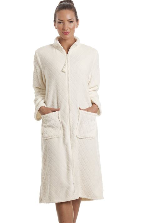 robe de chambre polaire fermeture eclair fleece ivory zip front house coat