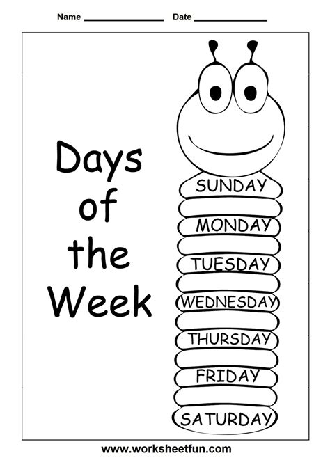 free worksheets for learning the days of week