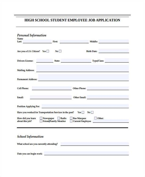 Sle Applications For High School Students by 33 Application Templates Free Premium Templates
