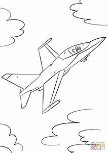 Military Fighter Jet Coloring Page Free Printable