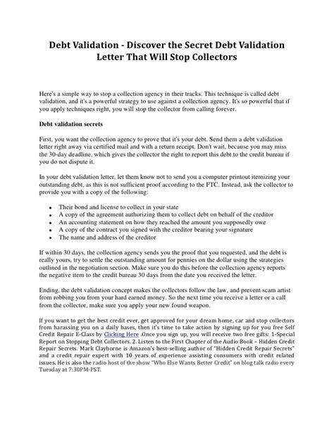 debt validation discover  secret debt validation letter