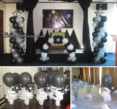 birthday black white balloon decoration  golden