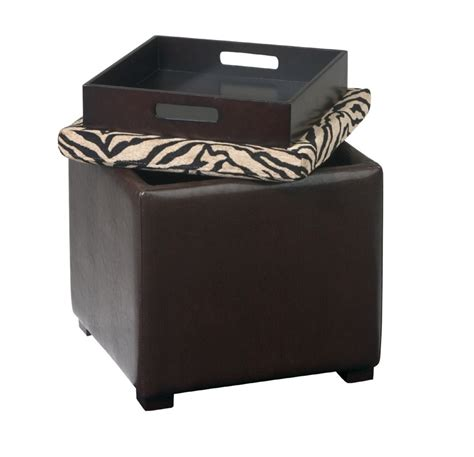 cube ottoman with tray avenue six detour storage cube ottoman with tray simba