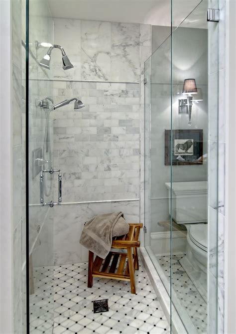 faux marble tile bathroom modern with shower