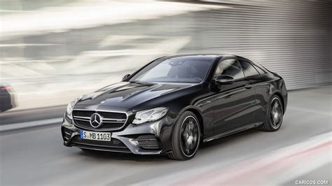 The rear wheel arches help with aerodynamics, and the spoiler lip on the trunk is the perfect cap to this perfectly shaped coupe. 2019 Mercedes-AMG E 53 Coupe 4MATIC+ (Color: Obsidian Black Metallic) - Front Three-Quarter | HD ...