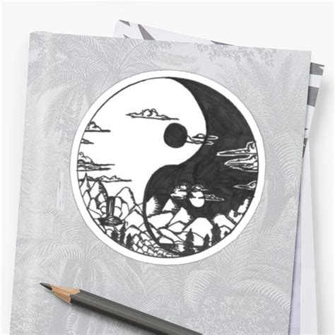 yin and yang sticker by lazyville redbubble