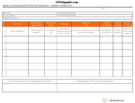 quality assurance plan qap