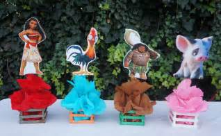 Inspired Disney Moana Birthday Party Decorations Table Centerpiece Wood Base Great for Guest Tables Candy Food Court Table Maui Pua Heihei