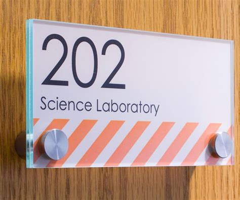 office signs green edged acrylic  stainless steel standoffs