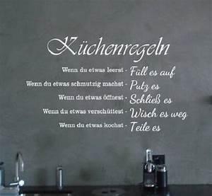 Sprüche Für Die Küche : wandtattoo kuechenregeln spruch fuer wohnzimmer flur ~ Watch28wear.com Haus und Dekorationen