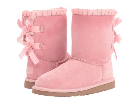 light pink ugg moccasins ugg kids bailey bow ruffles big kid baby pink zappos